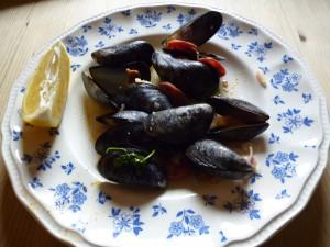 Musslor i vitt vin med Chorizo