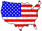 USA flagga med karta